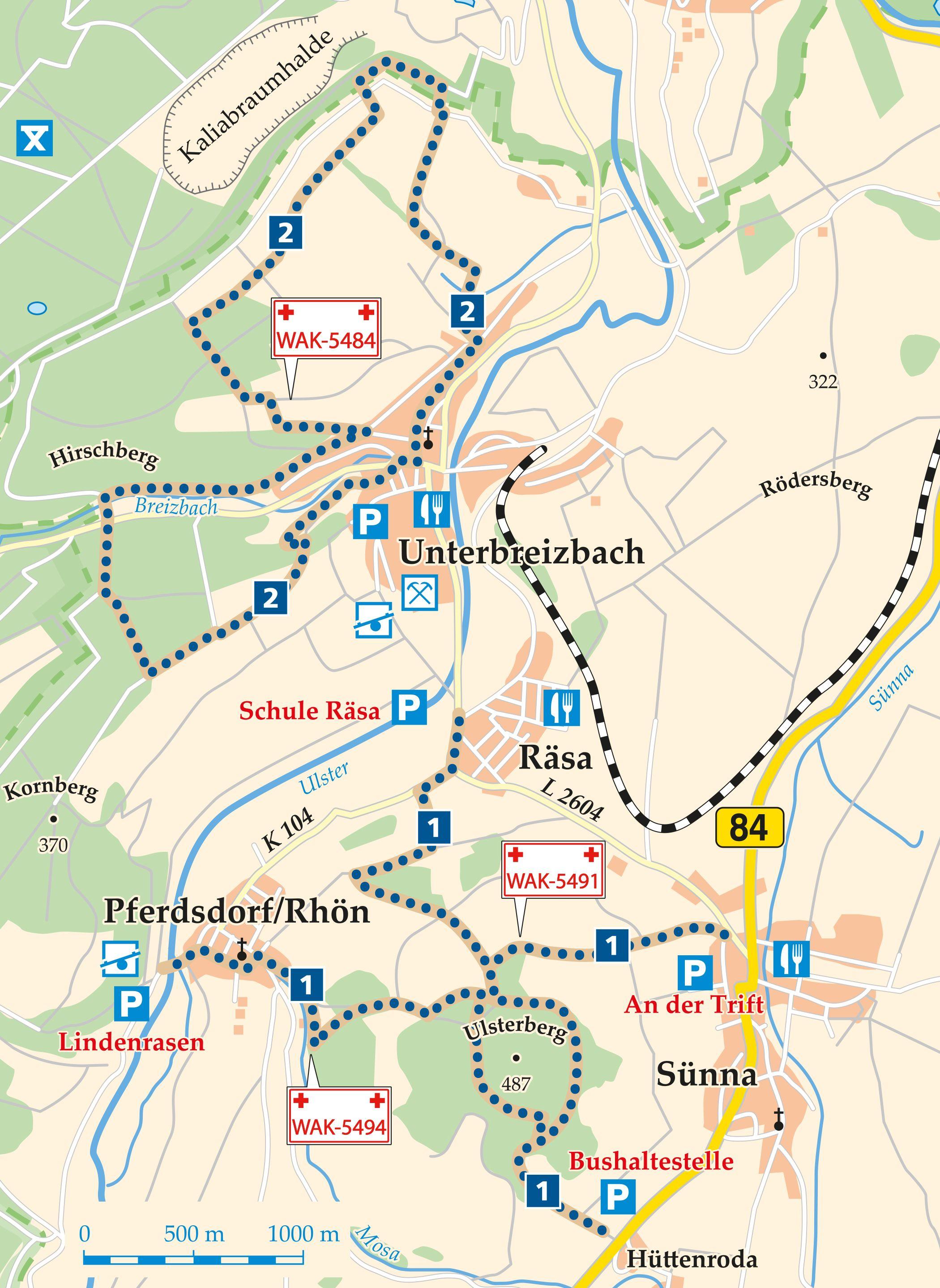 Rhön-Rundweg 1 Unterbreizbach Karte