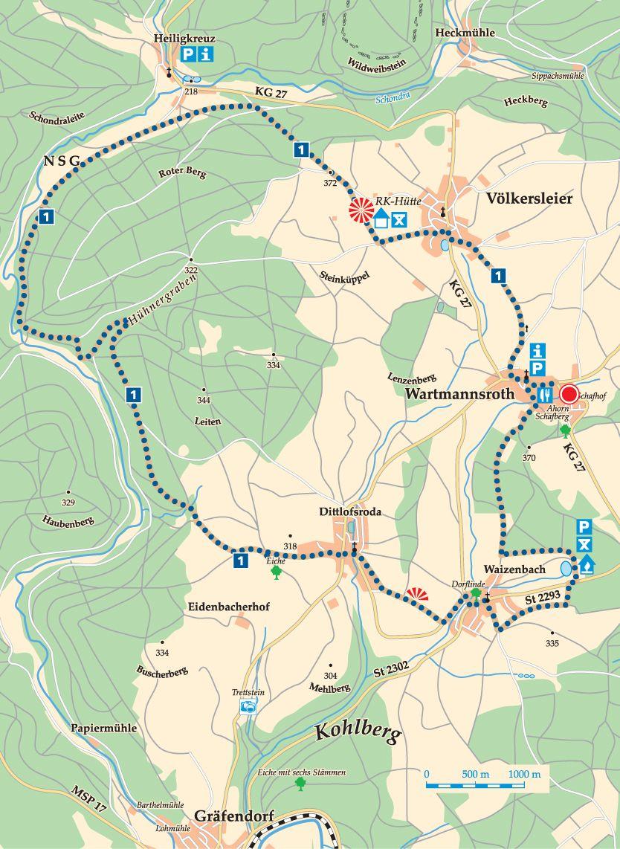 Rhön-Rundweg 1 Wartmannsroth Karte