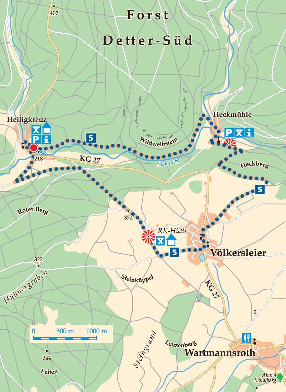 Rhön-Rundweg 5 Wartmannsroth Heiligkreuz Karte