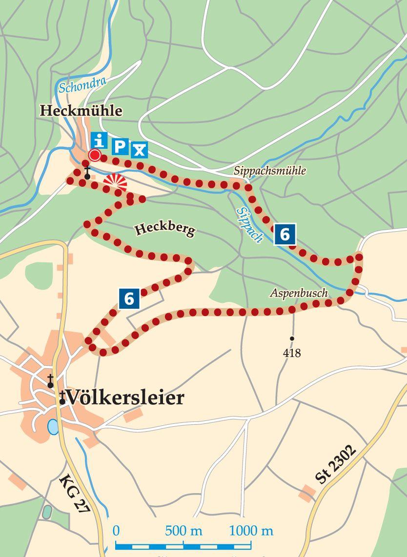 Rhön-Rundweg 6 Wartmannsroth Karte