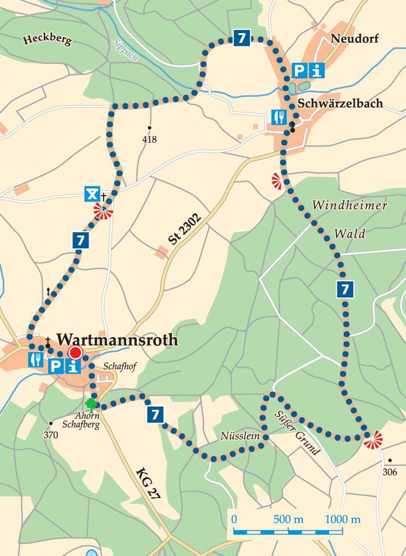 Rhön-Rundweg 7 Wartmannsroth Karte