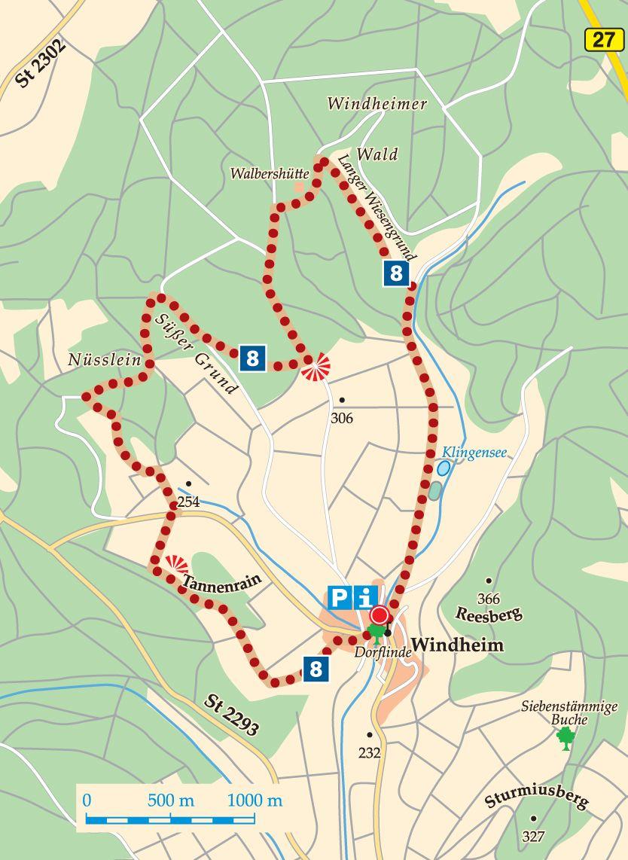 Rhön-Rundweg 8 Wartmannsroth Karte