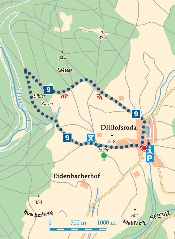 Rhön-Rundweg 9 Wartmannsroth Karte