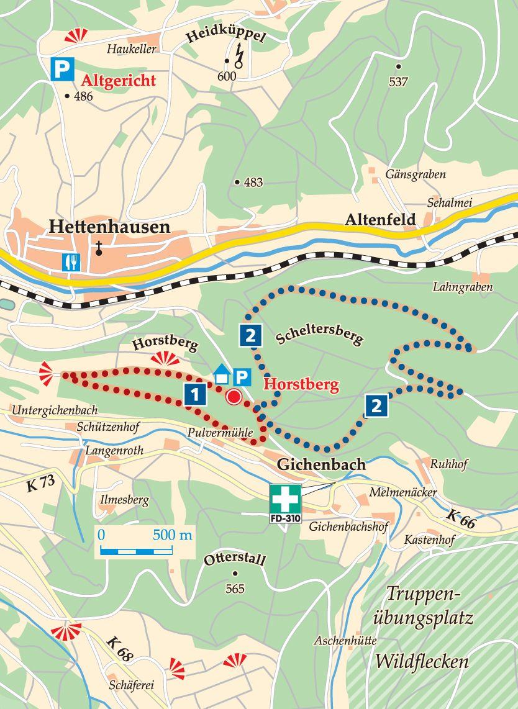 Rhön-Rundweg 1 Horstberg Karte
