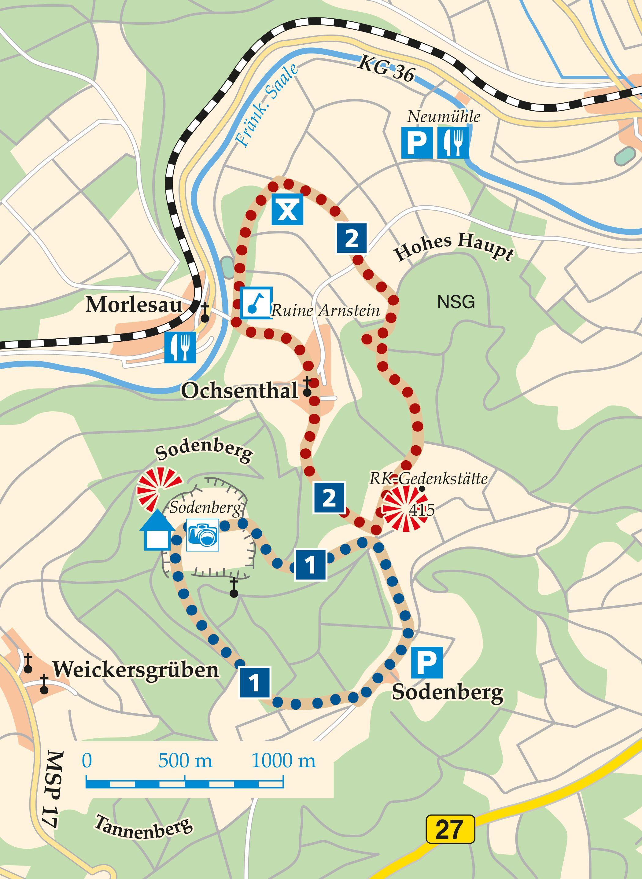 Rhön-Rundweg 2 Hammelburg Ochsenthal Karte