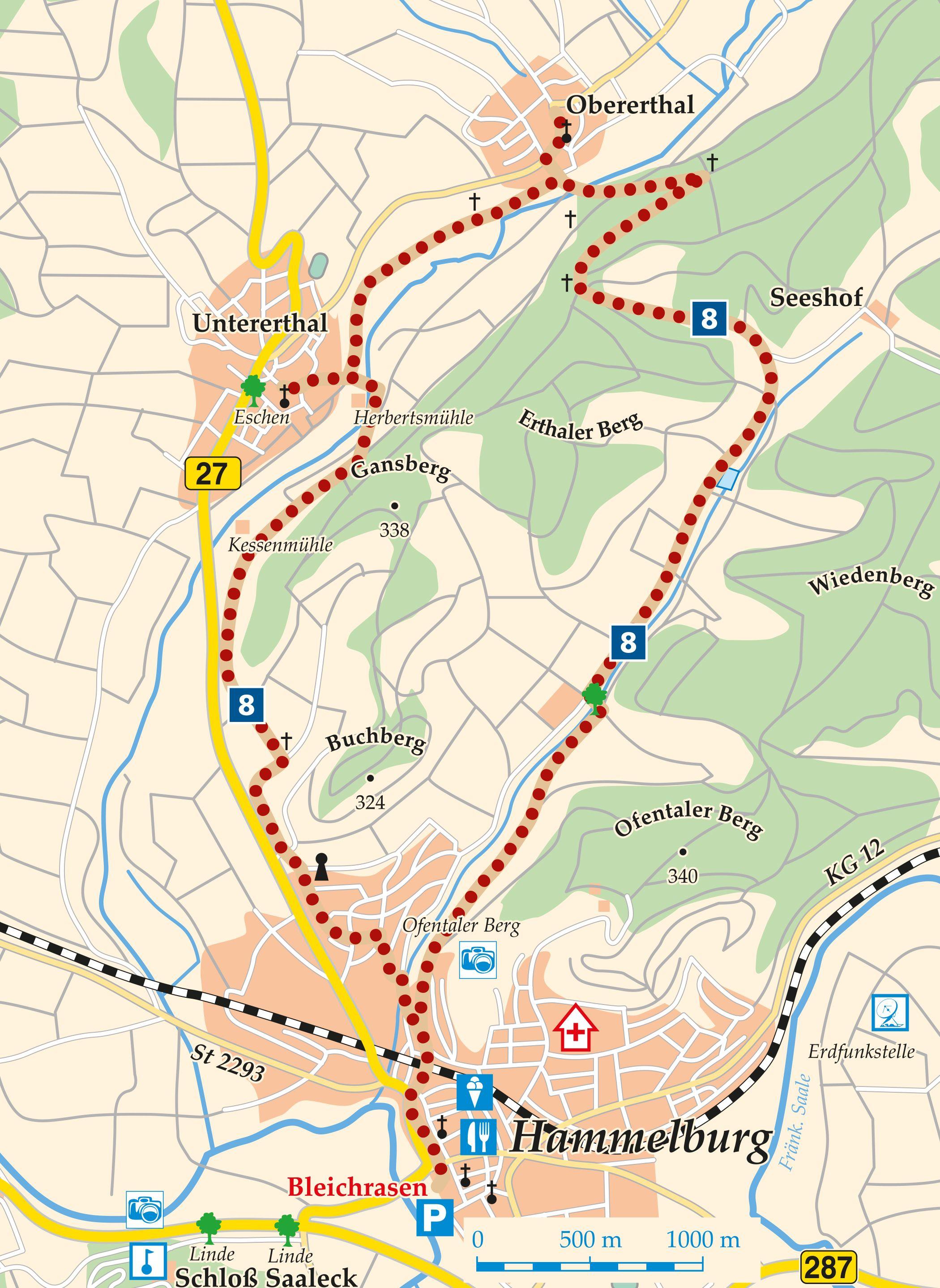 Rhön-Rundweg 8 Hammelburg Karte