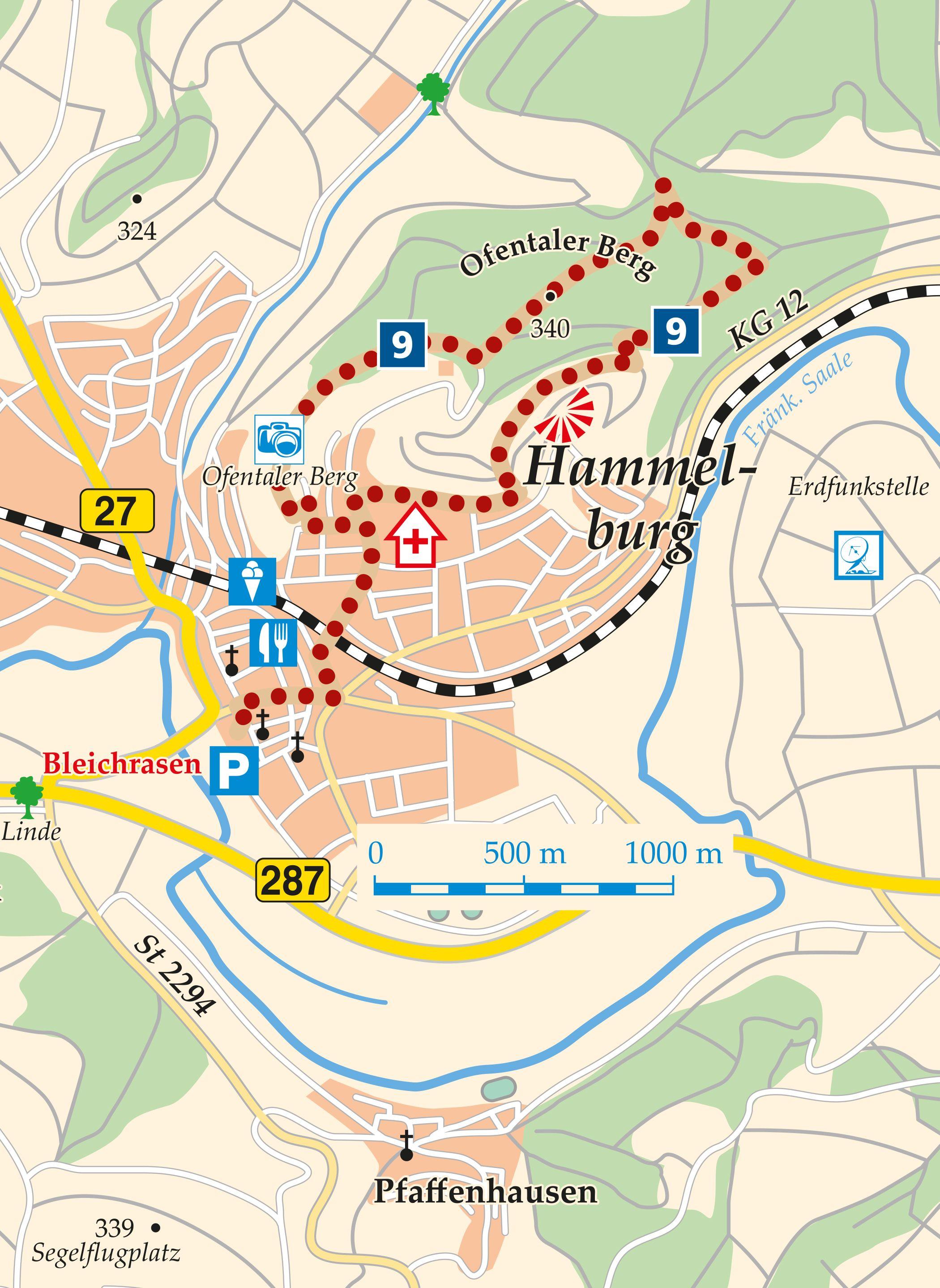 Rhön-Rundweg 9 Hammelburg Karte