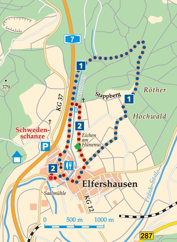 Rhön-Rundweg 2 Elfershausen Karte