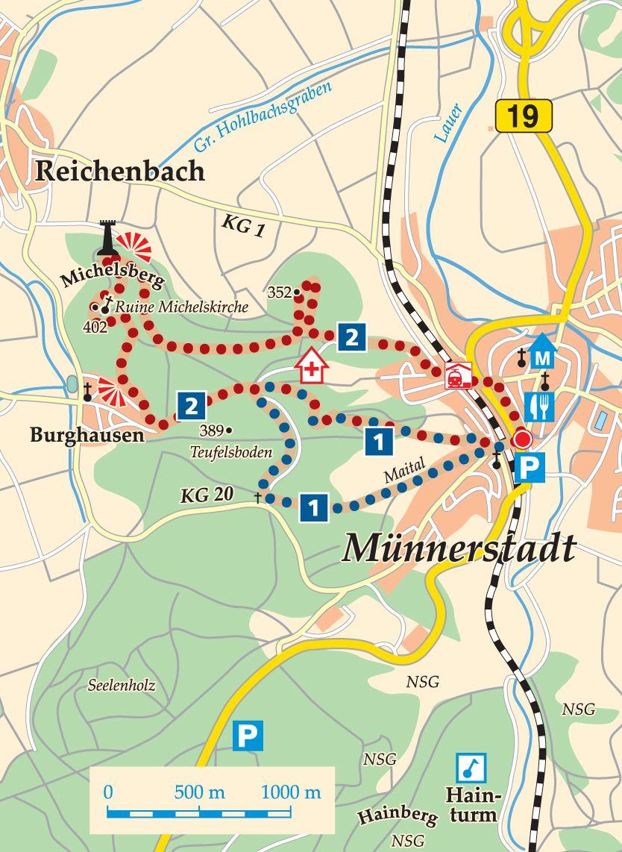Rhön-Rundweg 2 Münnerstadt Karte