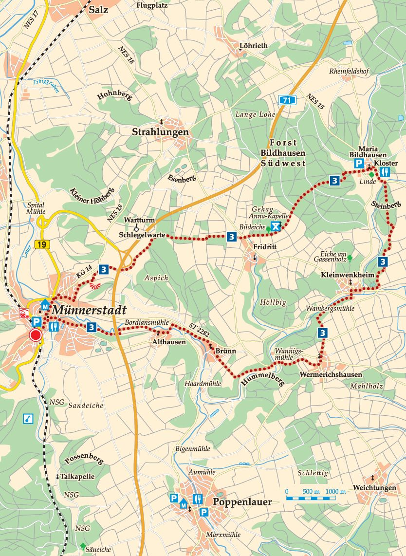 Rhön-Rundweg 3 Münnerstadt Karte
