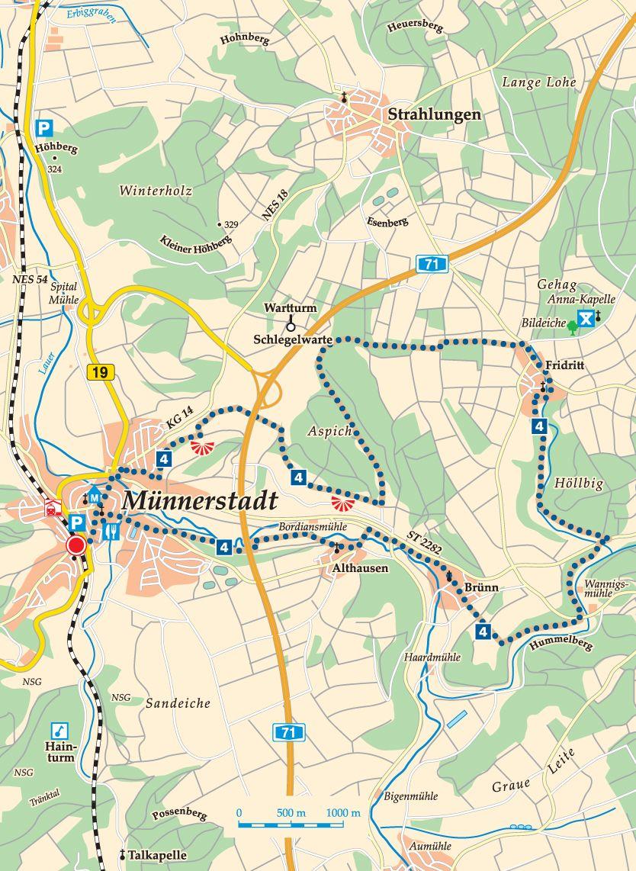 Rhön-Rundweg 4 Münnerstadt Karte