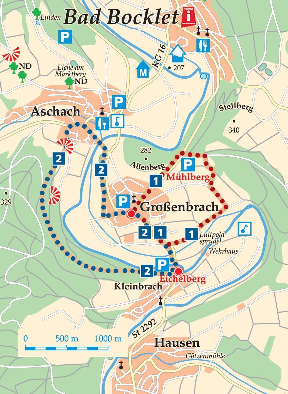 Rhön-Rundweg 1 Bad Bocklet Wanderkarte