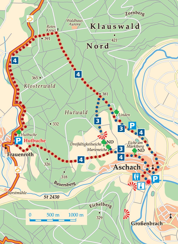 Rhön-Rundweg 3 Bad Bocklet Karte
