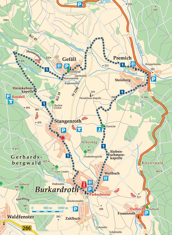 Rhön-Rundweg 1 Burkardroth Karte