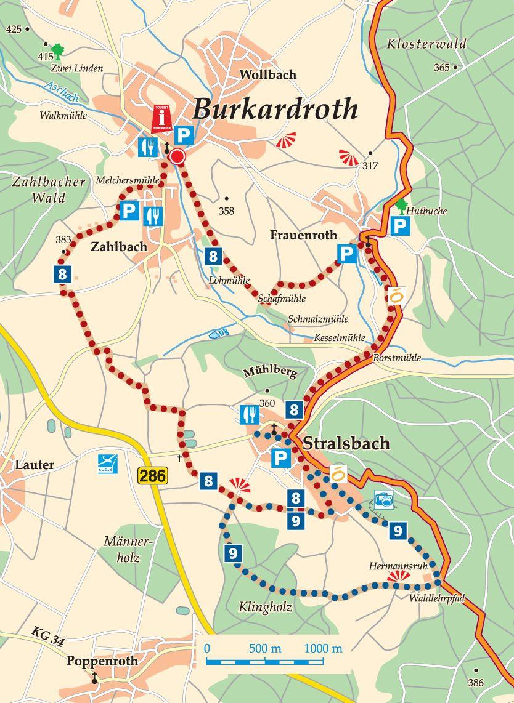 Rhön-Rundweg 9 Burkardroth Karte