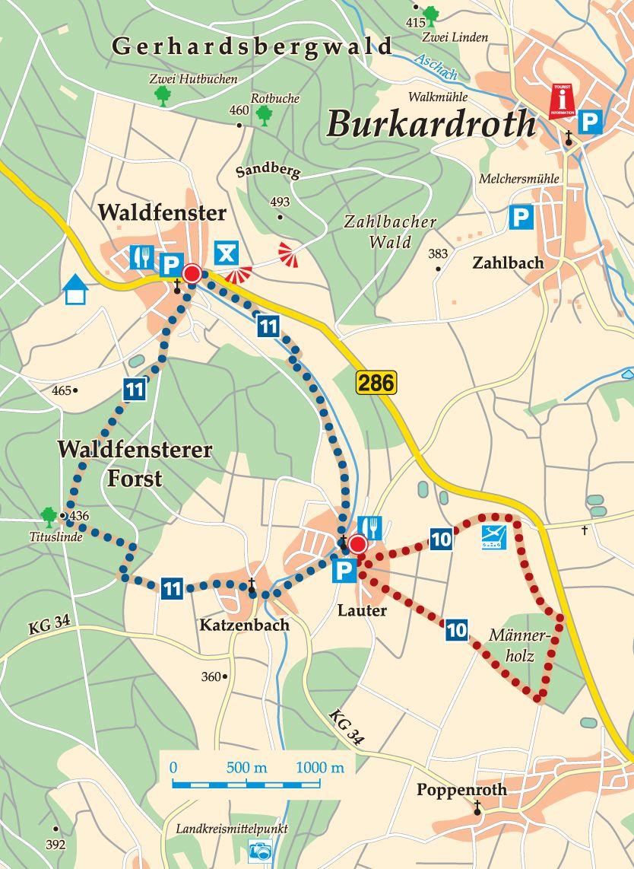 Rhön-Rundweg 10 Burkardroth Karte