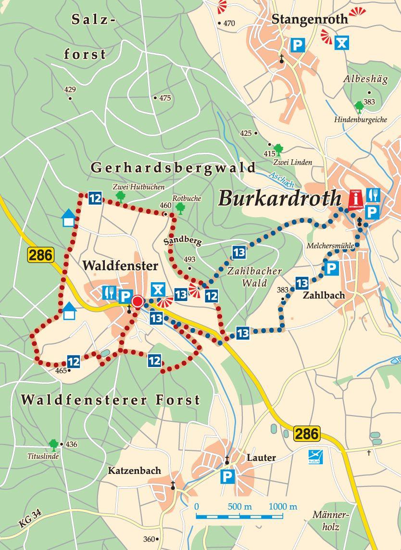 Rhön-Rundweg 12 Burkardroth Karte
