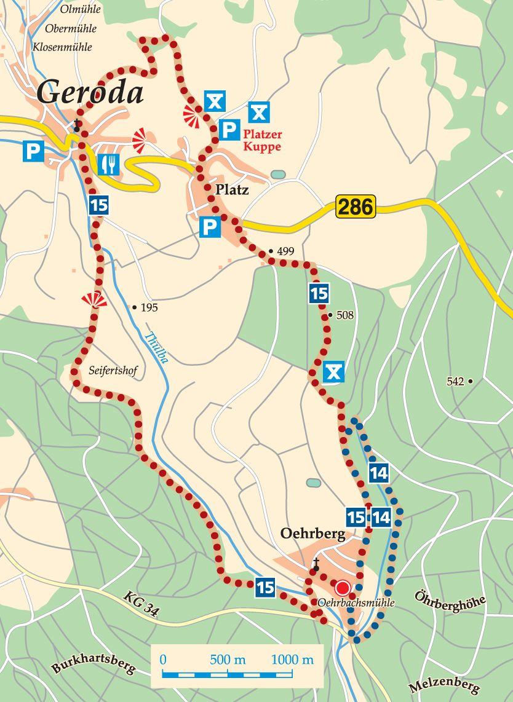 Rhön-Rundweg 14 Burkardroth Karte