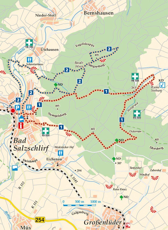 Rhön-Rundweg 1 Bad Salzschlirf Karte