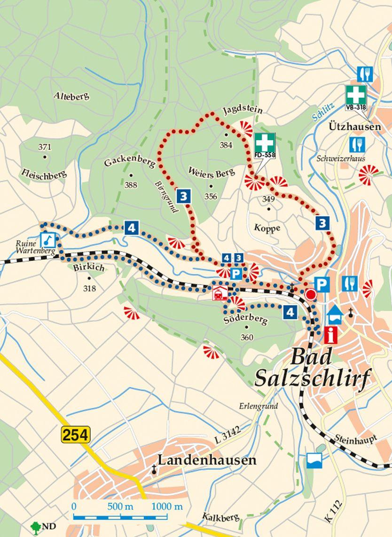 Rhön-Rundweg 3 Bad Salzschlirf Karte