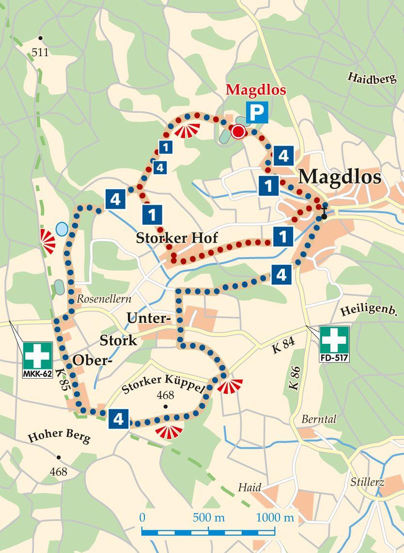 Rhön-Rundweg 4 Magdlos Karte