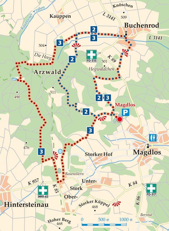 Rhön-Rundweg 3 Magdlos Karte