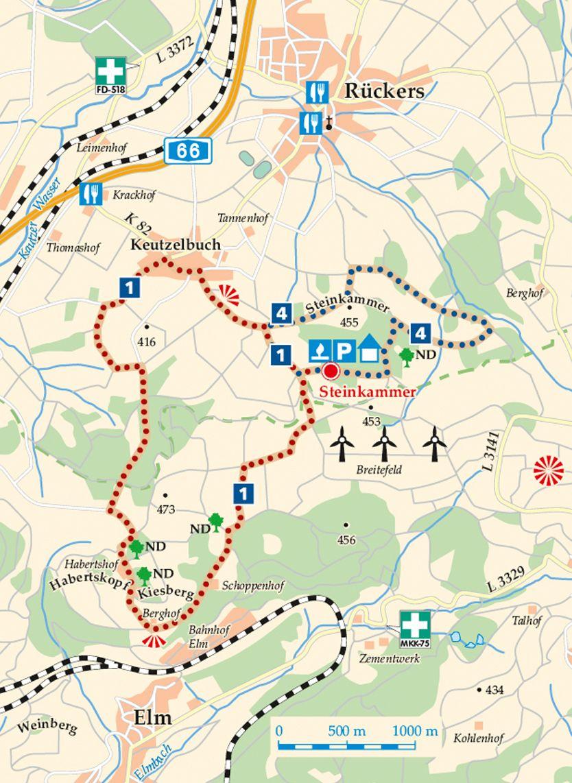 Rhön-Rundweg 1 Steinkammer Karte