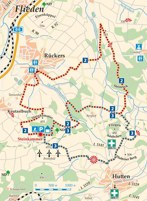 Rhön-Rundweg 2 Steinkammer Karte