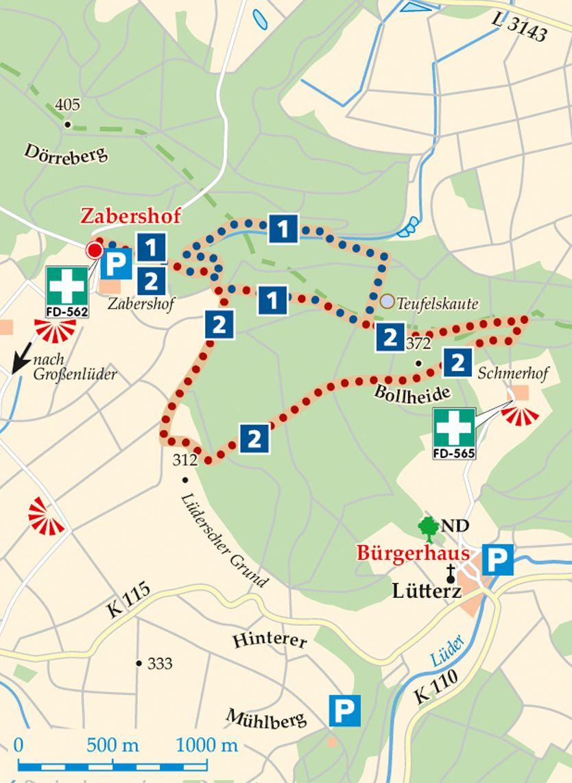 Rhön-Rundweg 2 Großenlüder Karte