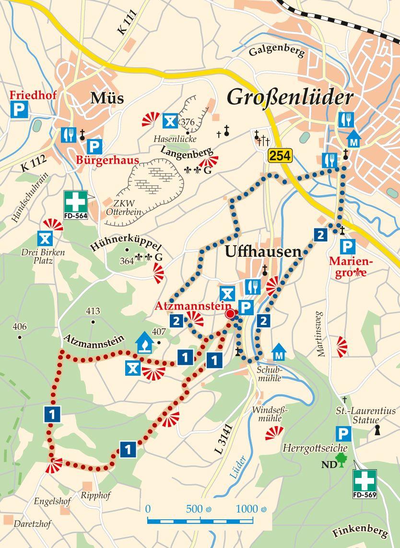 Rhön-Rundweg 2 Uffhausen Karte