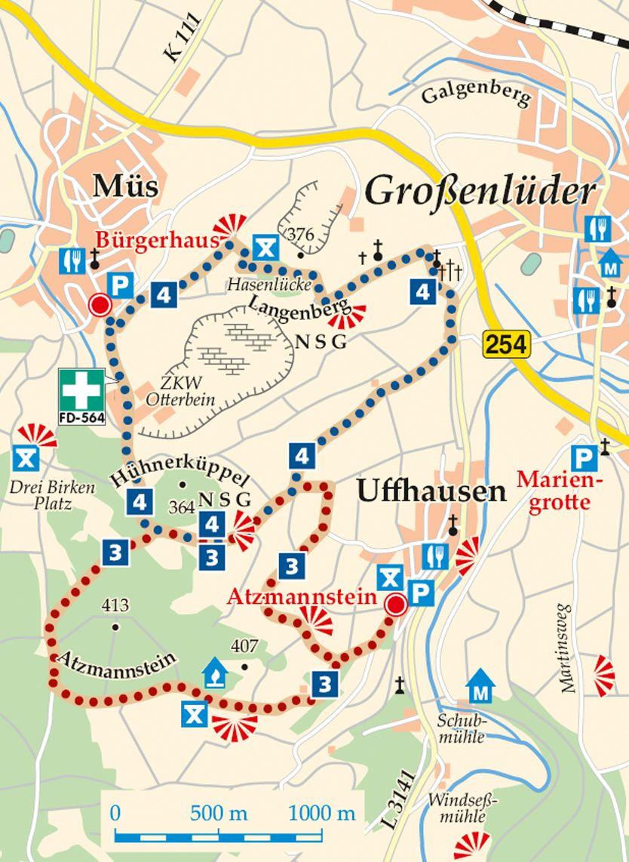 Rhön-Rundweg 3 Uffhausen Karte