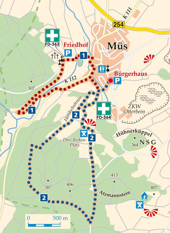 Rhön-Rundweg 1 Müs Karte