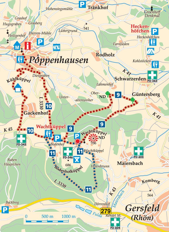 Rhön-Rundweg 11 Wachtküppel Karte