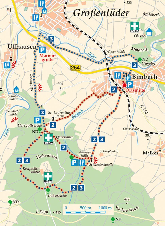 Rhön-Rundweg  3 Bimbach Karte
