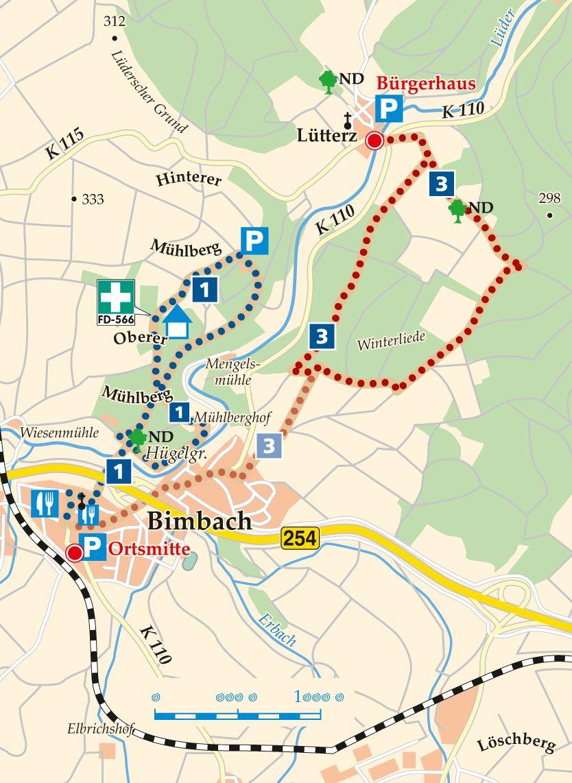 Rhön-Rundweg 3 Lütterz Karte