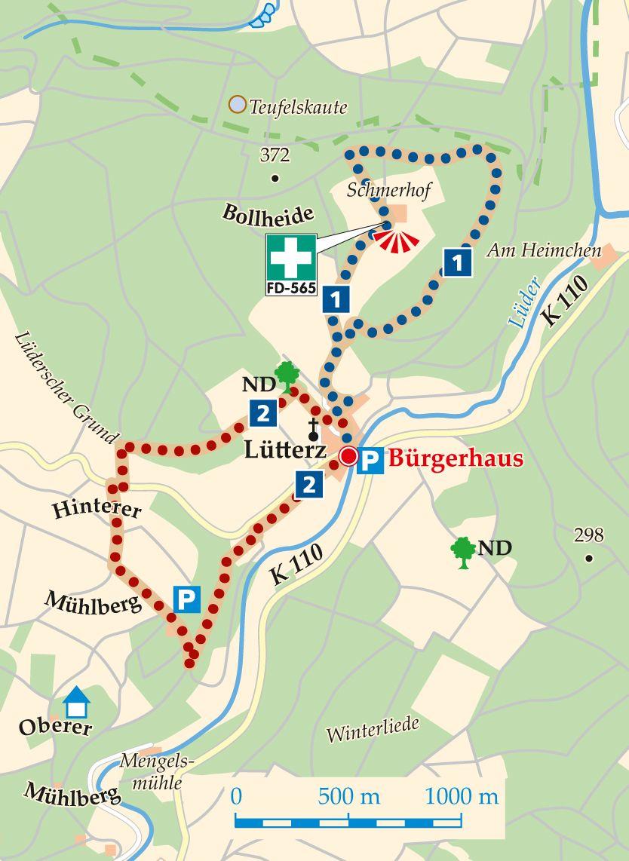 Rhön-Rundweg 1 Lütterz Karte