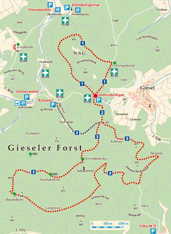 Rhön-Rundweg 1 Gieseler Forst Nord Karte