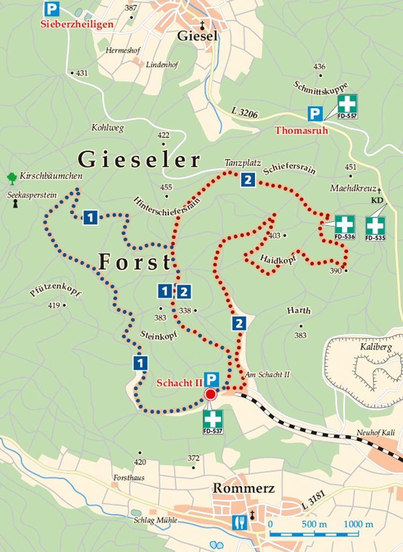 Rhön-Rundweg 2 Gieseler Forst Süd Abraumhalde Karte