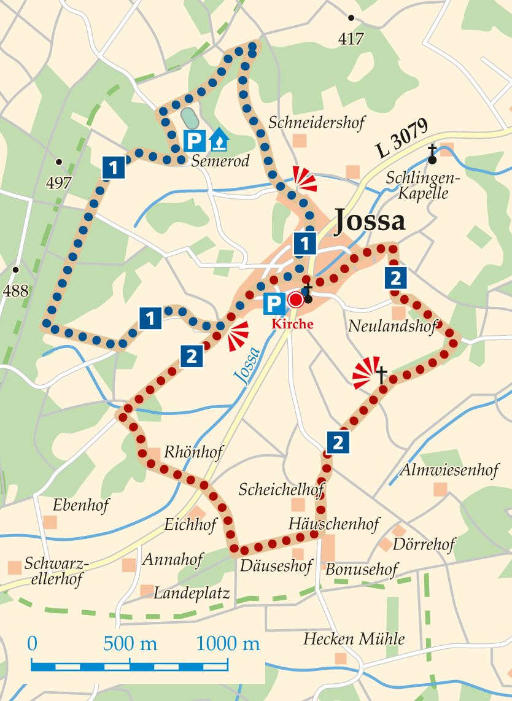 Rhön-Rundweg 1 Jossa Karte
