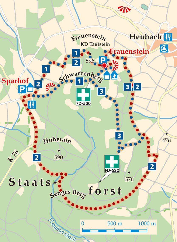 Rhön-Rundweg  3 Frauenstein Karte