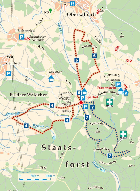 Rhön-Rundweg 7 Sparhof Karte