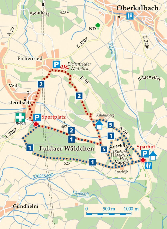 Rhön-Rundweg 1 Veitsteinbach Karte