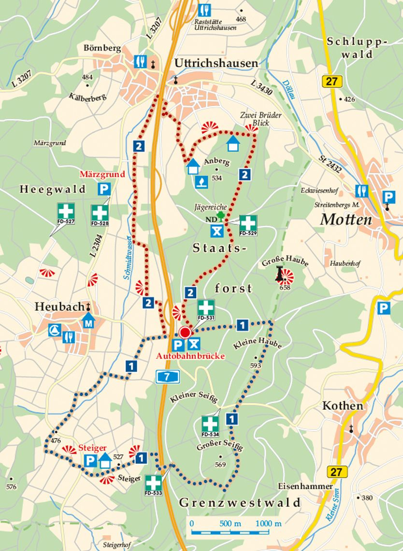 Rhön-Rundweg 2 Märzgrund Karte