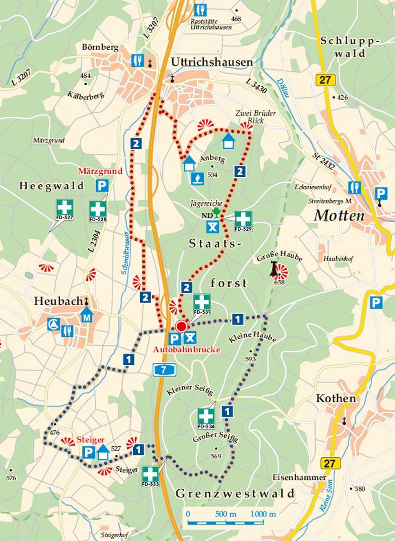 Rhön-Rundweg 1 Steiger Karte