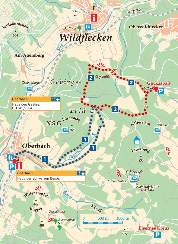 Rhön-Rundweg 2 Schwarze Berge Karte