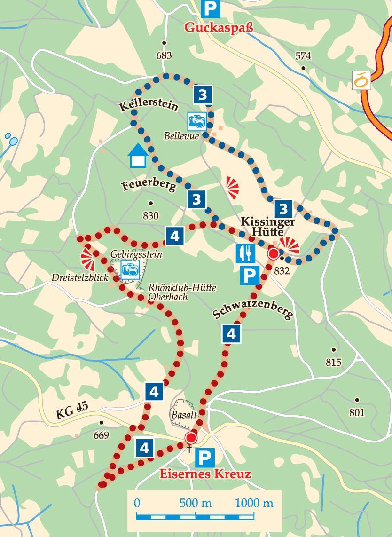 Rhön-Rundweg 4 Schwarze Berge Karte