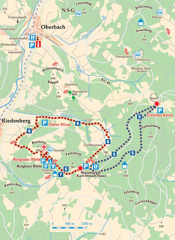 Rhön-Rundweg 5 Schwarze Berge Karte