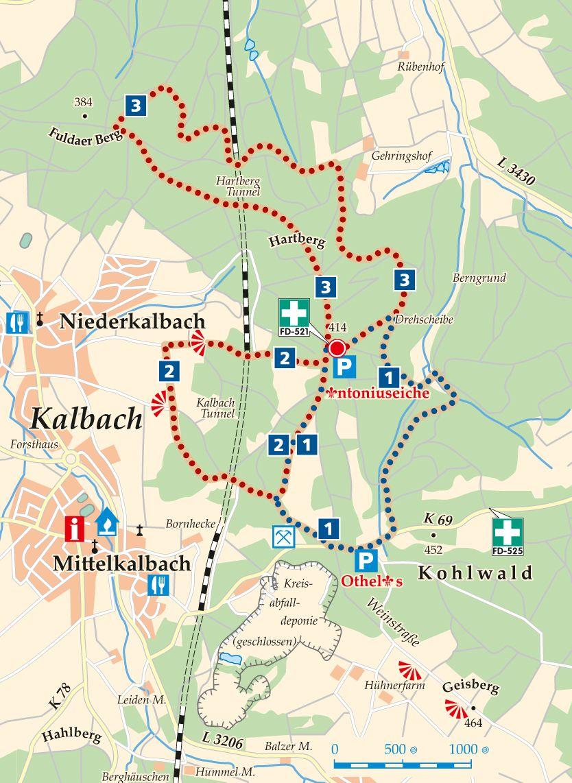 Rhön-Rundweg 2 Antoniuseiche Karte