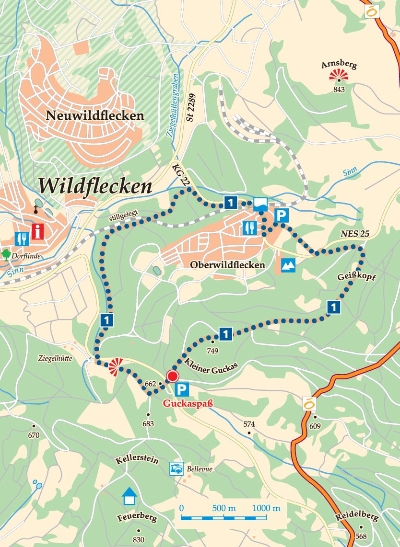Rhön-Rundweg 1 Wildflecken Waldweg Karte