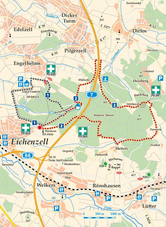 Rhön-Rundweg 1 Eichenzell Karte